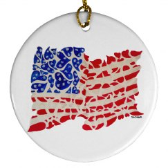 USA flag of hearts ornament