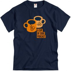 Mens Navy Blue A Cup of Code Podcast Alt-Design T-Shirt