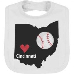 Cincinnati Baseball Bib
