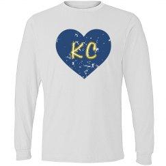 I Heart KC LS - gray/royal - ultrasoft - distressed