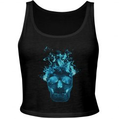 Blue Fire Skull Tank Top