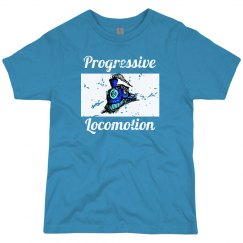 Teal tee w/blue colorful graphic
