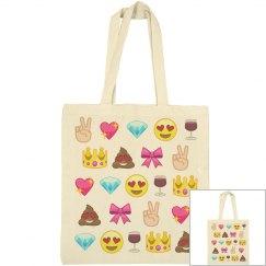 Cute Emoji Canvas Tote Bag