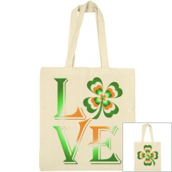 Love Ireland Clover, Canvas Tote Bag
