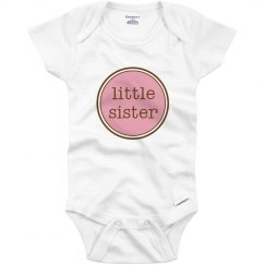 Little Sister Onesie Pink Brown