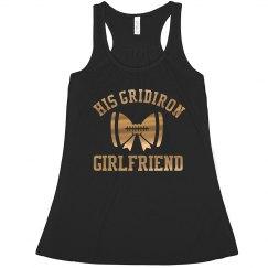 Metallic Gold Football Girlfriend Design Tank Top