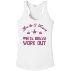 Metallic Rose White Dress Work Out