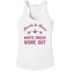 Metallic Rose White Dress Work Out