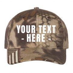 Custom Text Camo Flag Hat