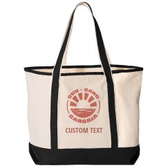 Custom Text Vacation Beach Bag