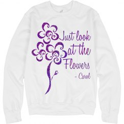 Look at the flowers (TWD TEE) purple glitter logo