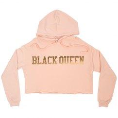 Black Queen Gold crop sweat shirt
