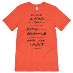 1 Timothy Be a Young Example Brown Words Unisex Tee