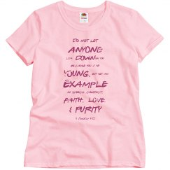 1 Timothy Be a Young Example Dark Pink Words T Shirt