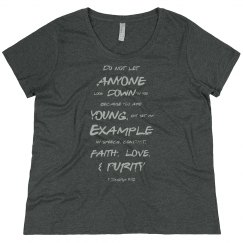 1 Timothy Be a Young Example Gray Words Plus Size Tee