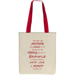 1 Timothy Be a Young Example Red Text Tote Bag