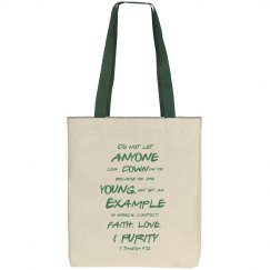 1 Timothy Be a Young Example Green Text Tote Bag