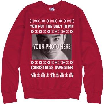 Custom Ugly Christmas Sweater Funny Gag Sweater: Mustang Mom 4 LIFE
