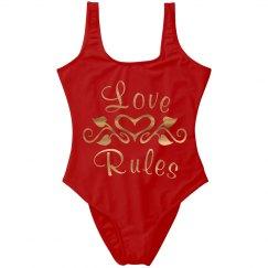 Gold Metallic Fancy Hearts Love Rules