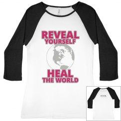 REVEAL Yourself 3/4 Sleeve Large World Tee - Rasp/Silvr