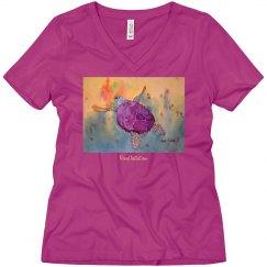 Kelly's Sea Purple Turtle Ladies V-neck