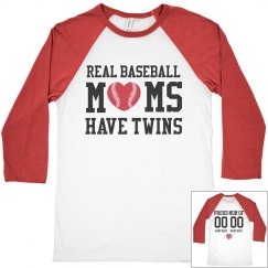 Real Baseball Moms Have Twins Custom Team Colors Shirt