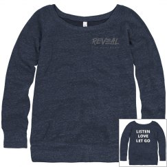 LISTEN, LOVE, LET GO Wide Neck Slouchy Sweatshirt