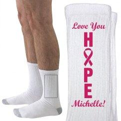 Hope Ribbon Breast Cancer Walk Socks WIth Name