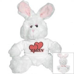 Red Hearts White Bunny