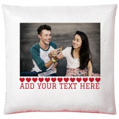 Custom Couples Photo Sequin Pillowcase