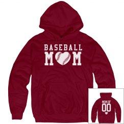 Comfy Baseball Mom Hoodies With Custom Numbers