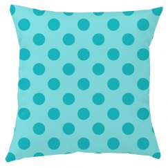 Blue Polka Dot Throw Pillow Cover