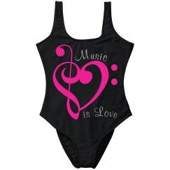 Neon Pink Metallic Treble & Bass Clef Heart MusicIsLove