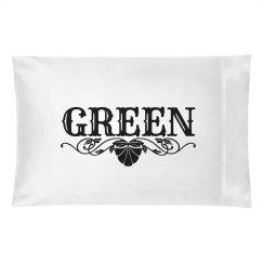 GREEN. Pillow case