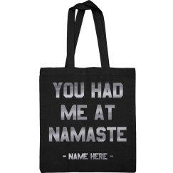 You Had Me at Namaste Metallic Yoga Tote