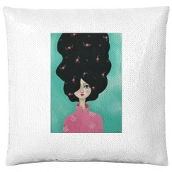 Brunette with flowers (teal background- pillow case)
