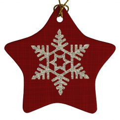 Red Christmas Star with Silver Glitter Snowflake