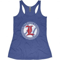 #3-Ladies Slim Fit Racerback Tank-Next Level Brand-Blue