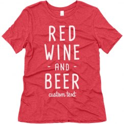 Red Wine & Beer Funny 4th of July Drinking Tee