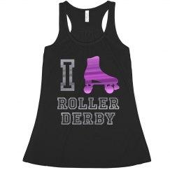I -Skate- Roller Derby Metallic Racerback Tank