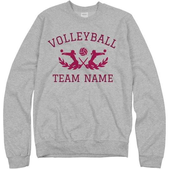 8d3c262f Custom School Team Volleyball Text Unisex Basic Promo Crewneck Sweatshirt