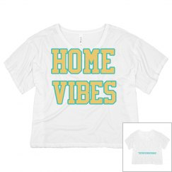 Home vibes white crop tee
