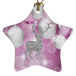 Pink Bokeh Ornament Balls Silver Reindeer