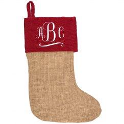 Custom Initials Burlap Christmas