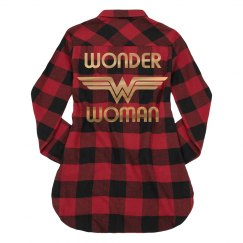 Gold Metallic Wonder Woman Flannel