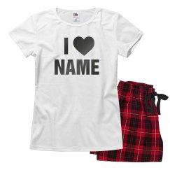 I Heart Name Shiny Gunmetal Pajamas