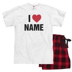 Custom I Heart Name Vday Pajamas