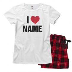 Custom I Heart Name Vday Pajamas