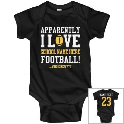 Little Football Fan Baby With Custom Name Number