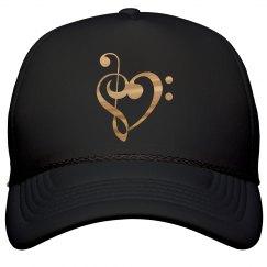 Gold Metallic Treble & Bass Clef Heart